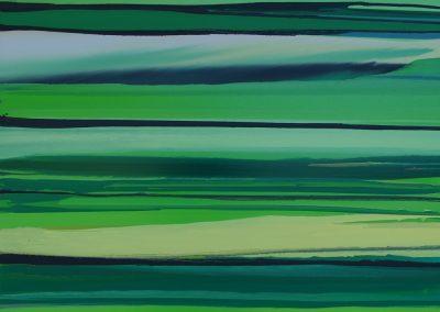 Paysage traversé glycéro sur toile 120x120